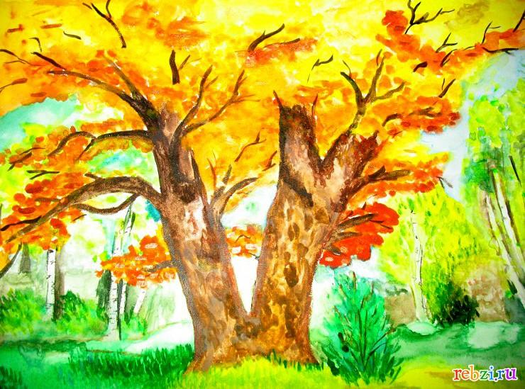 Картинки на тему золотая осень детские рисунки