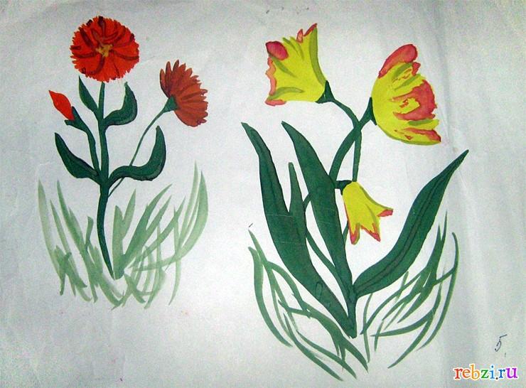Рисунки детские цветов