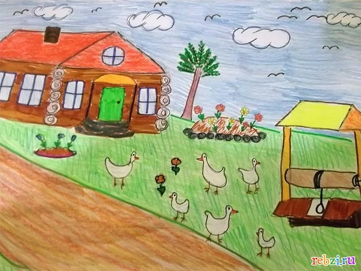 Детские рисунки - фестиваль. Детский рисунок / У бабушки в деревне