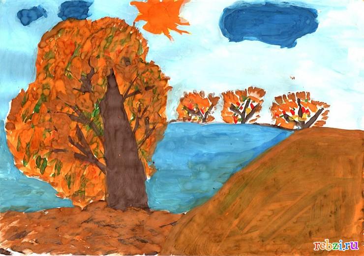 рисунки детские про осень фото