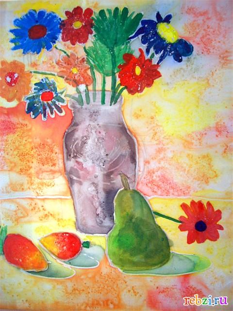 натюрморты красками для детей схемы