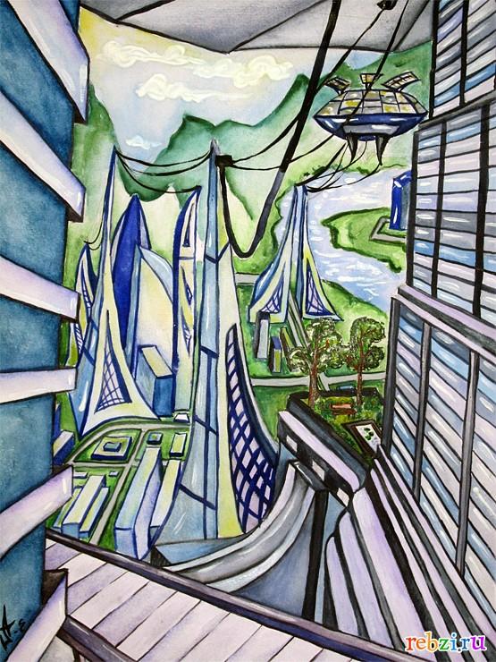 город будущего рисунки и картинки
